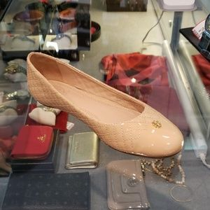 Tory Burch Quilted Beige Patent Flats